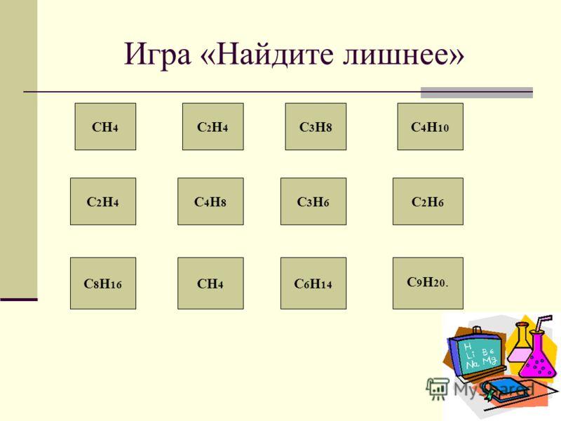 Игра «Найдите лишнее» СН 4 С2Н4С2Н4 С3Н8С3Н8 С 4 Н 10 С2Н4С2Н4 С4Н8С4Н8 С3Н6С3Н6 С2Н6С2Н6 С 8 Н 16 СН 4 С 6 Н 14 С 9 Н 20.