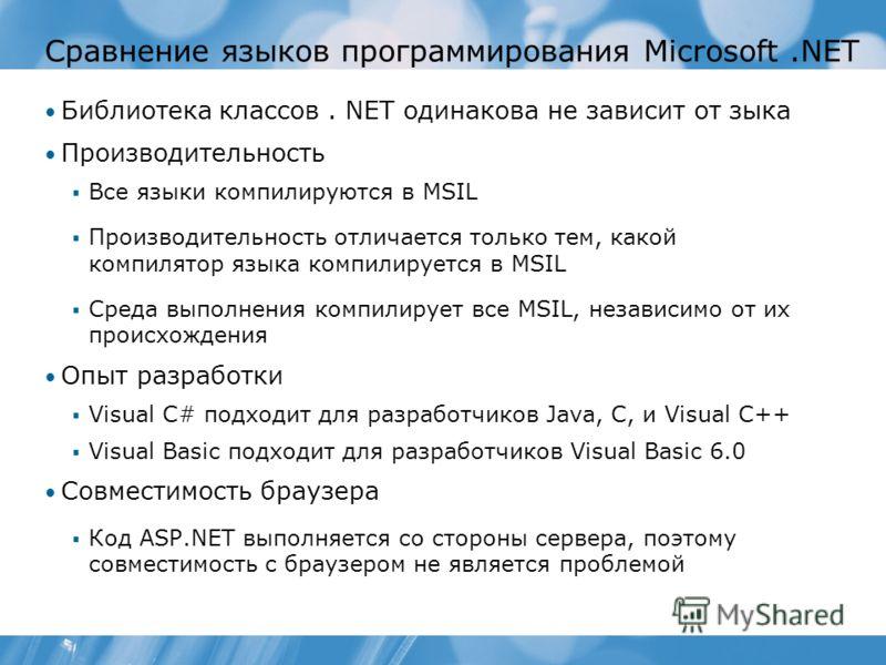Сравнение языков программирования Microsoft.NET Библиотека классов. NET одинакова не зависит от зыка Производительность Все языки компилируются в MSIL Производительность отличается только тем, какой компилятор языка компилируется в MSIL Среда выполне