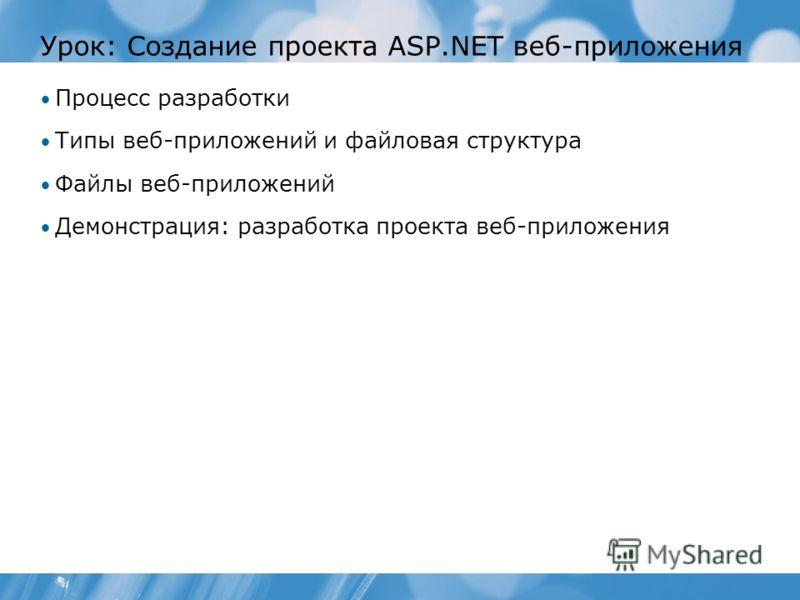 Урок: Создание проекта ASP.NET веб-приложения Процесс разработки Типы веб-приложений и файловая структура Файлы веб-приложений Демонстрация: разработка проекта веб-приложения