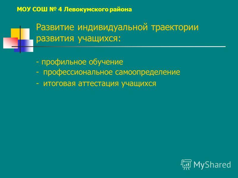 МОУ СОШ 4 Левокумского района - профильное обучение - профессиональное самоопределение - итоговая аттестация учащихся Развитие индивидуальной траектории развития учащихся: