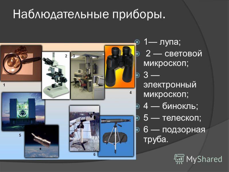 Наблюдательные приборы. 1 лупа; 2 световой микроскоп; 3 электронный микроскоп; 4 бинокль; 5 телескоп; 6 подзорная труба.