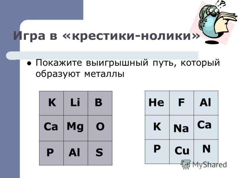 Игра в «крестики-нолики» Покажите выигрышный путь, который образуют металлы LiB Mg K CaO PAlS HeFAl K Na Ca P Cu N