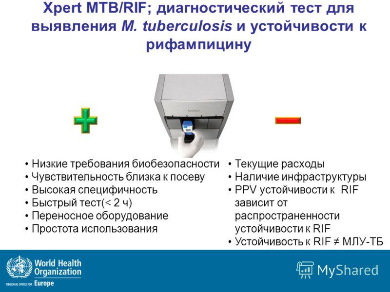 Xpert MTB/RIF; диагностический тест для выявления M. tuberculosis и устойчивости к рифампицину Низкие требования биобезопасности Чувствительность близка к посеву Высокая специфичность Быстрый тест(< 2 ч) Переносное оборудование Простота использования