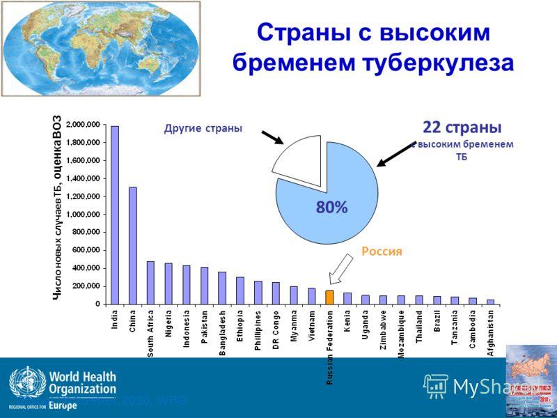 Ч исло новых случаев ТБ, оценка ВОЗ 22 страны с высоким бременем ТБ Другие страны 80% Россия Страны с высоким бременем туберкулеза Global TB Control, 2010, WHO