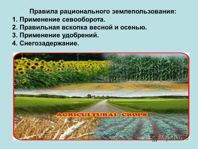 Правила рационального землепользования: 1.Применение севооборота. 2.Правильная вскопка весной и осенью. 3.Применение удобрений. 4.Снегозадержание.