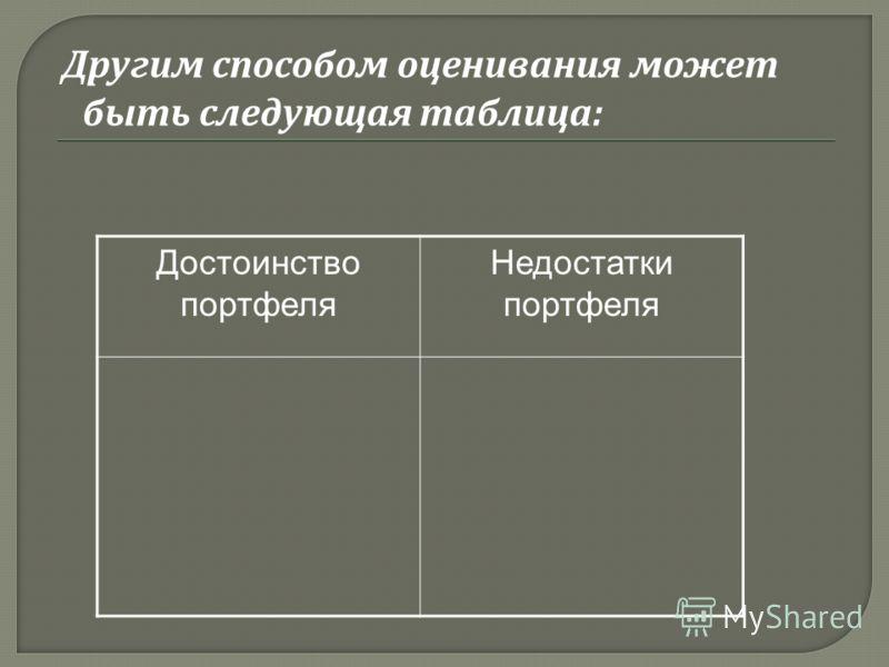 Другим способом оценивания может быть следующая таблица : Достоинство портфеля Недостатки портфеля