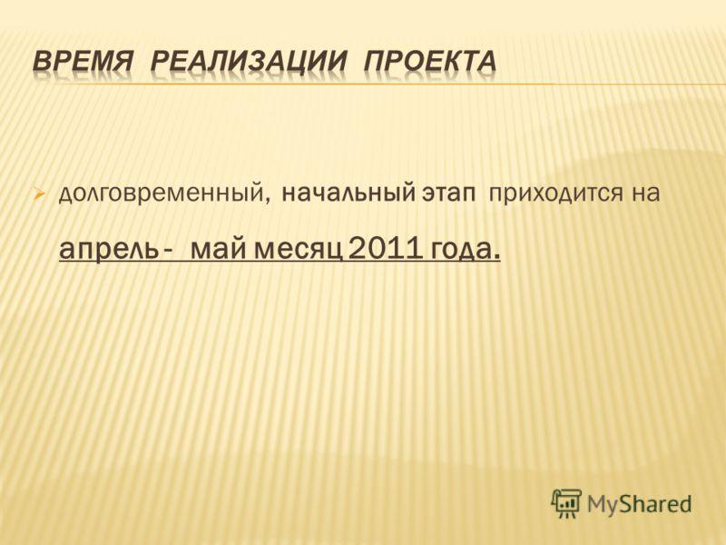 долговременный, начальный этап приходится на апрель - май месяц 2011 года.
