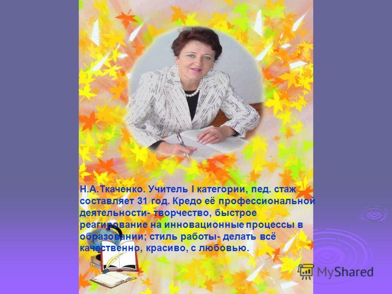 Н.А.Ткаченко. Учитель I категории, пед. стаж составляет 31 год. Кредо её профессиональной деятельности- творчество, быстрое реагирование на инновационные процессы в образовании; стиль работы- делать всё качественно, красиво, с любовью.