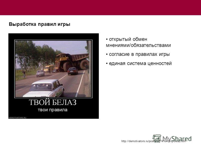Выработка правил игры http://demotivators.ru/posters/274164/tvoj-belaz.htm открытый обмен мнениями/обязательствами согласие в правилах игры единая система ценностей