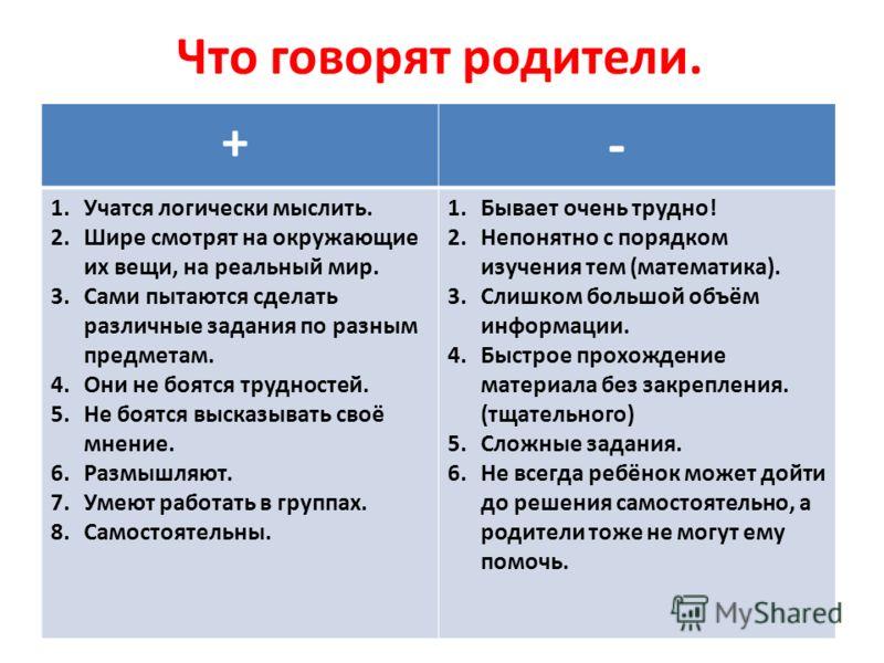 Что говорят родители. + - 1.Учатся логически мыслить. 2.Шире смотрят на окружающие их вещи, на реальный мир. 3.Сами пытаются сделать различные задания по разным предметам. 4.Они не боятся трудностей. 5.Не боятся высказывать своё мнение. 6.Размышляют.