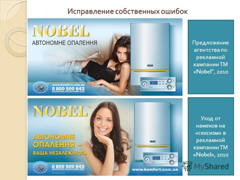 Исправление собственных ошибок Предложение агентства по рекламной кампании ТМ «Nobel, 2010 Уход от намеков на « сексизм » в рекламной кампании ТМ «Nobel», 2010