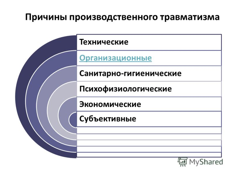 Технические Организационные Санитарно-гигиенические Психофизиологические Экономические Субъективные Причины производственного травматизма