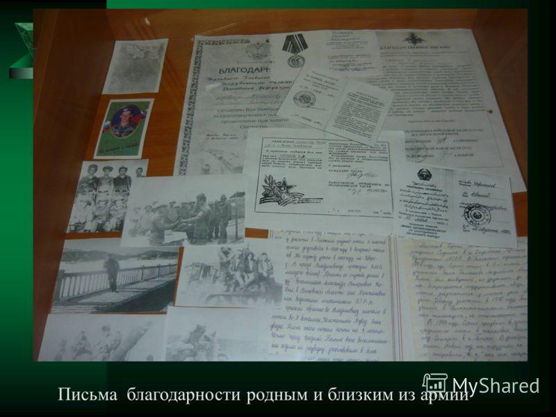Письма благодарности родным и близким из армии