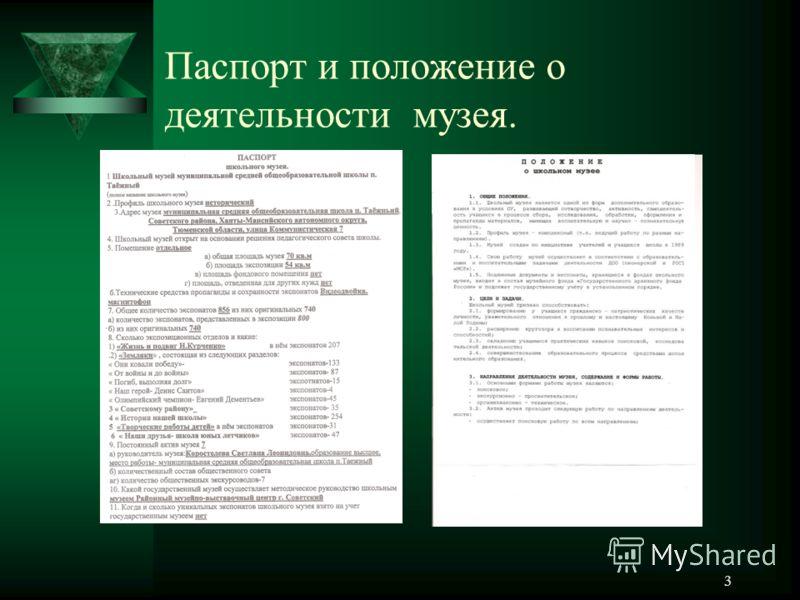 Паспорт и положение о деятельности
