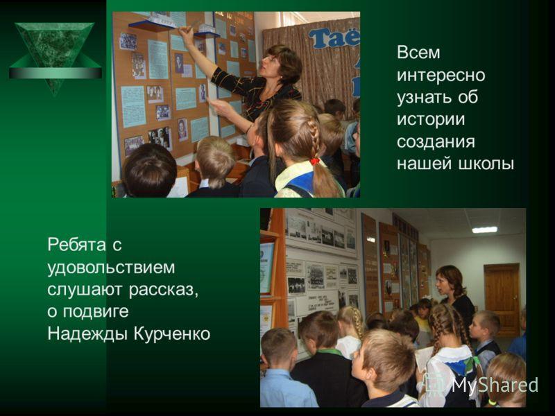 36 Всем интересно узнать об истории создания нашей школы Ребята с удовольствием слушают рассказ, о подвиге Надежды Курченко