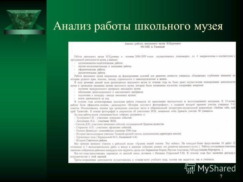 Анализ работы школьного музея 7