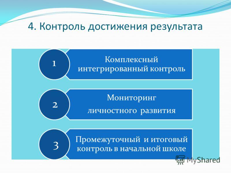 4. Контроль достижения результата 1 2 3