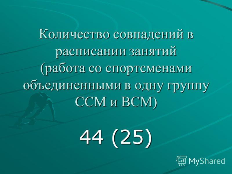 Количество совпадений в расписании занятий (работа со спортсменами объединенными в одну группу ССМ и ВСМ) 44 (25)