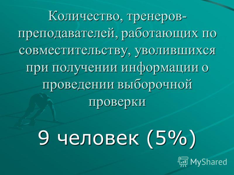 Количество, тренеров- преподавателей, работающих по совместительству, уволившихся при получении информации о проведении выборочной проверки 9 человек (5%)