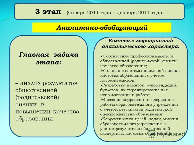 3 этап (январь 2011 года – декабрь 2011 года) Комплекс мероприятий аналитического характера: Соотнесение профессиональной и общественной (родительской) оценки качества образования; Уточнение системы школьной оценки качества образования с учетом потре