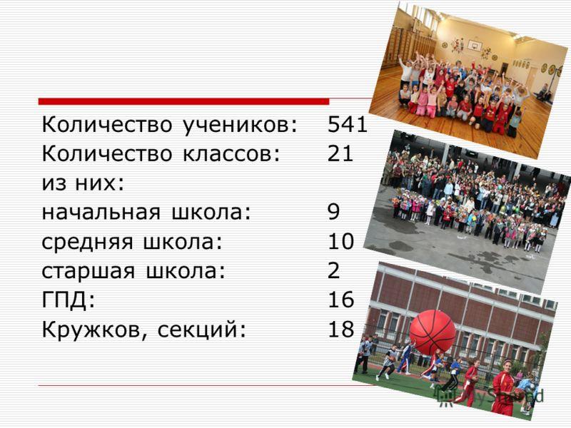 Количество учеников: 541 Количество классов: 21 из них: начальная школа: 9 средняя школа: 10 старшая школа: 2 ГПД: 16 Кружков, секций: 18