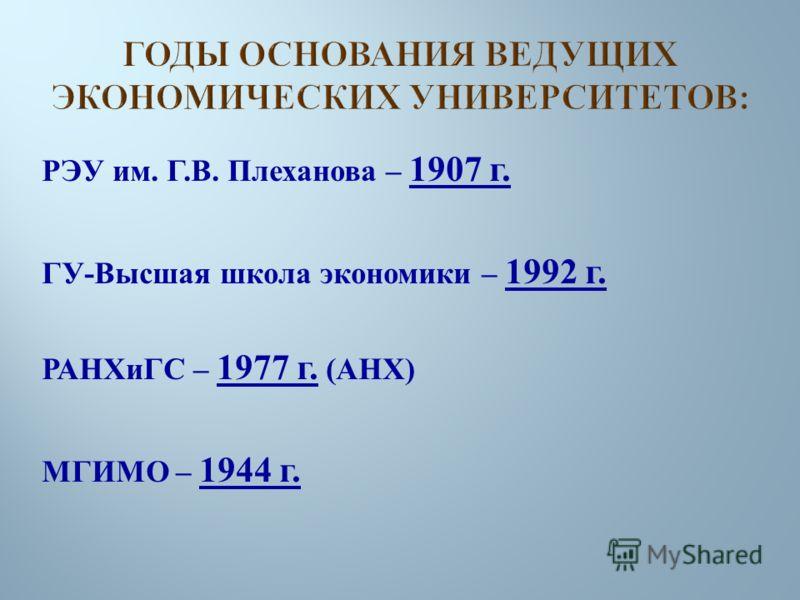 РЭУ им. Г. В. Плеханова – 1907 г. ГУ - Высшая школа экономики – 1992 г. РАНХиГС – 1977 г. ( АНХ ) МГИМО – 1944 г.