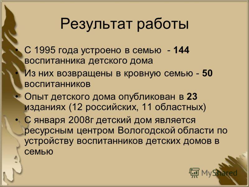 Результат работы С 1995 года устроено в семью - 144 воспитанника детского дома Из них возвращены в кровную семью - 50 воспитанников Опыт детского дома опубликован в 23 изданиях (12 российских, 11 областных) С января 2008г детский дом является ресурсн