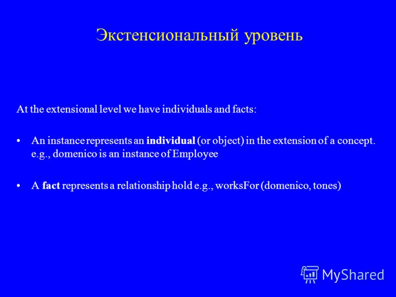 Экстенсиональный уровень At the extensional level we have individuals and facts: An instance represents an individual (or object) in the extension of a concept. e.g., domenico is an instance of Employee A fact represents a relationship hold e.g., wor