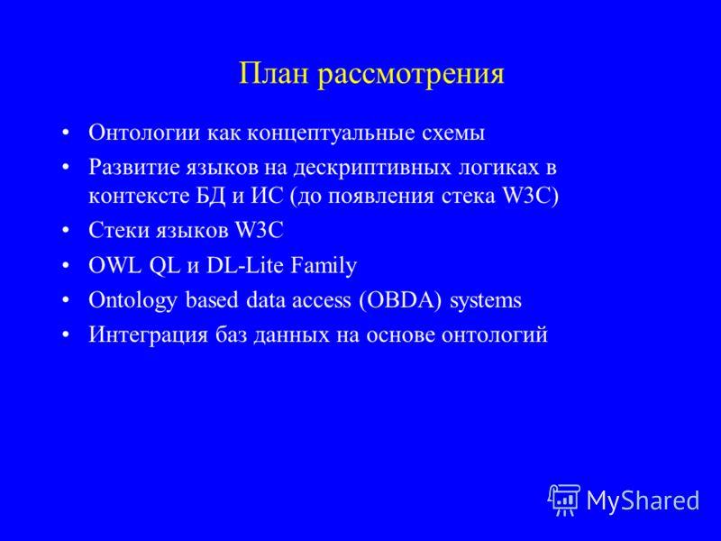 План рассмотрения Онтологии как концептуальные схемы Развитие языков на дескриптивных логиках в контексте БД и ИС (до появления стека W3C) Стеки языков W3C OWL QL и DL-Lite Family Ontology based data access (OBDA) systems Интеграция баз данных на осн