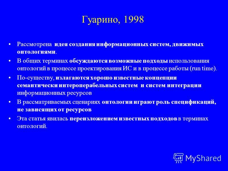 Гуарино, 1998 Рассмотрена идея создания информационных систем, движимых онтологиями. В общих терминах обсуждаются возможные подходы использования онтологий в процессе проектирования ИС и в процессе работы (run time). По-существу, излагаются хорошо из