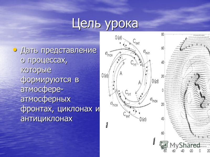 Цель урока Дать представление о процессах, которые формируются в атмосфере- атмосферных фронтах, циклонах и антициклонах Дать представление о процессах, которые формируются в атмосфере- атмосферных фронтах, циклонах и антициклонах