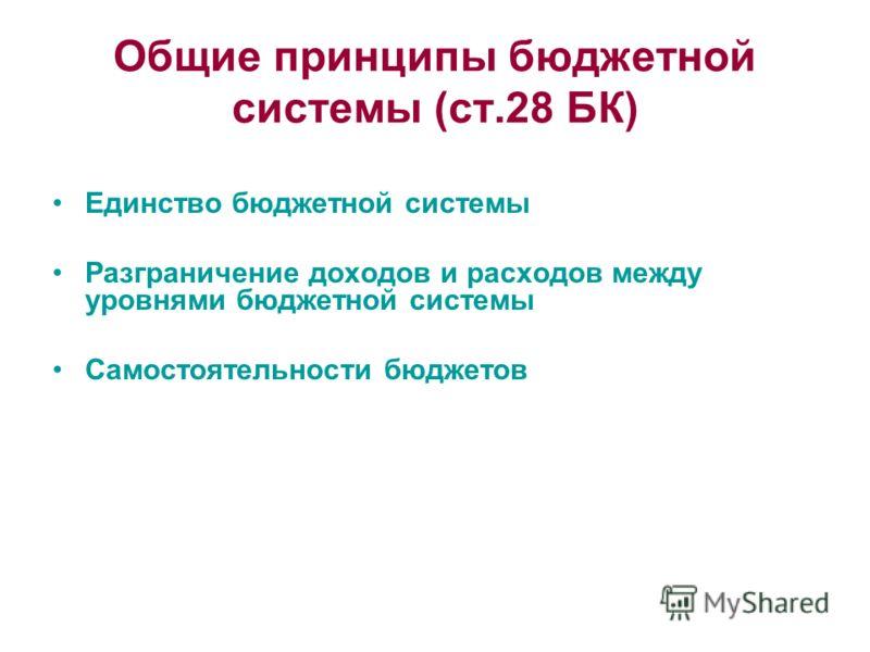 Общие принципы бюджетной системы (ст.28 БК) Единство бюджетной системы Разграничение доходов и расходов между уровнями бюджетной системы Самостоятельности бюджетов
