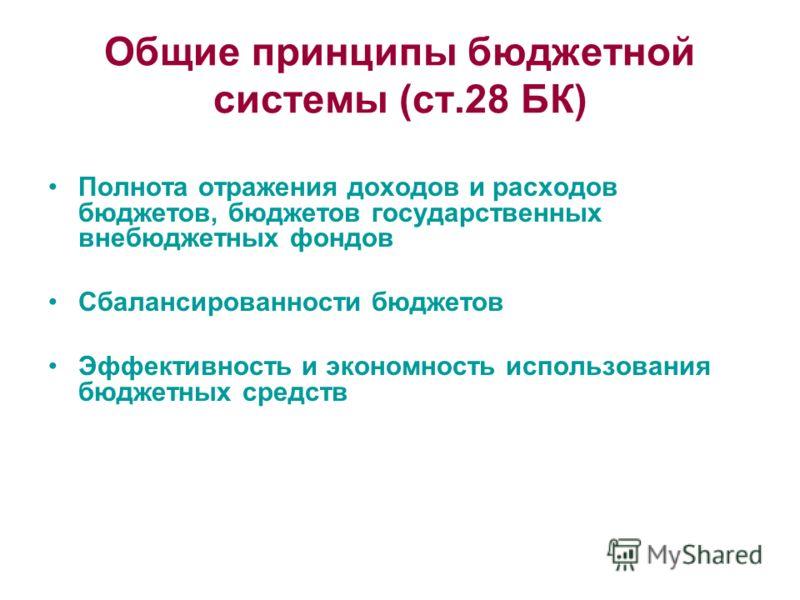 Общие принципы бюджетной системы (ст.28 БК) Полнота отражения доходов и расходов бюджетов, бюджетов государственных внебюджетных фондов Сбалансированности бюджетов Эффективность и экономность использования бюджетных средств