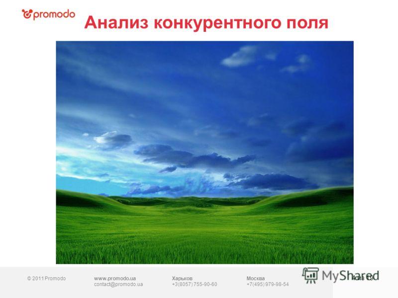 © 2011 Promodowww.promodo.ua contact@promodo.ua Харьков +3(8057) 755-90-60 Москва +7(495) 979-98-54 Анализ конкурентного поля 4 из 19