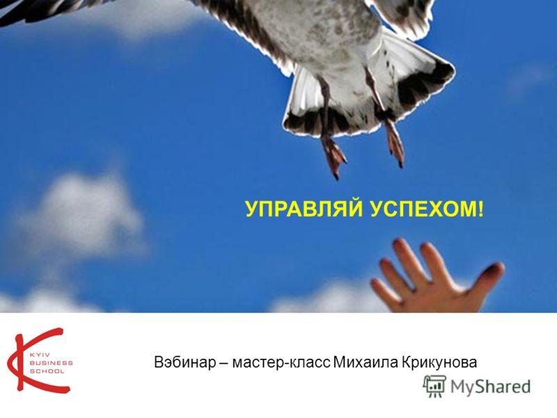 1 УПРАВЛЯЙ УСПЕХОМ! Вэбинар – мастер-класс Михаила Крикунова