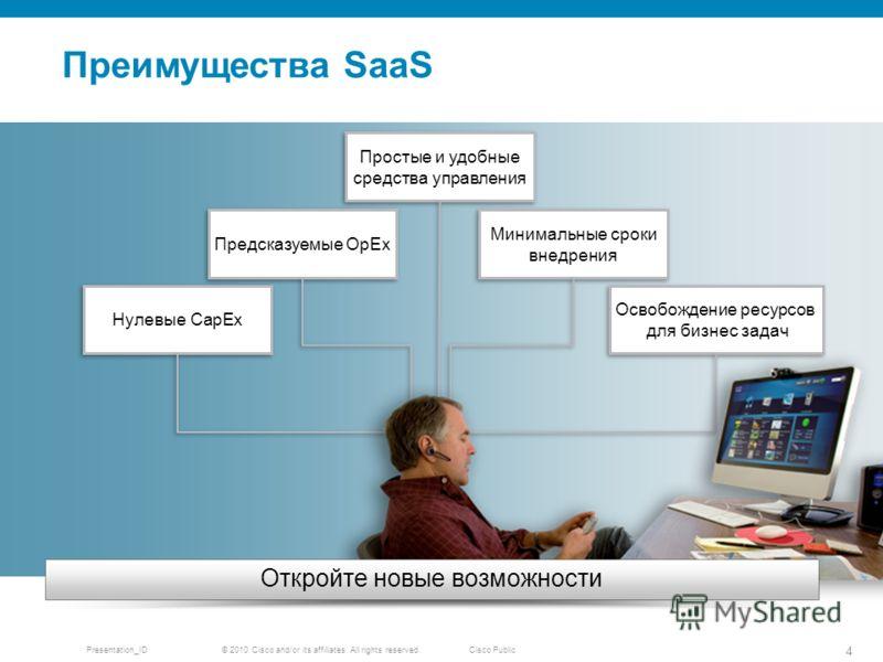 © 2010 Cisco and/or its affiliates. All rights reserved. Presentation_ID 4 Cisco Public Преимущества SaaS Откройте новые возможности