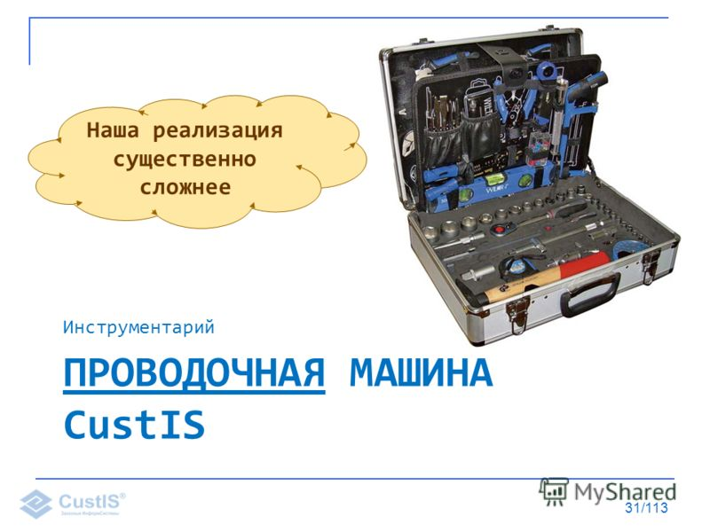 ПРОВОДОЧНАЯ МАШИНА CustIS Инструментарий 31/113 Наша реализация существенно сложнее