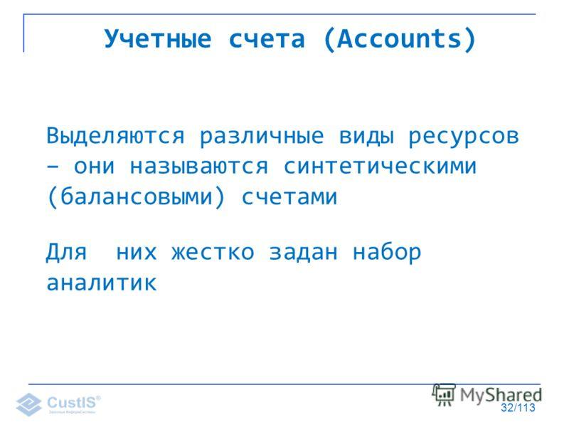 32/113 Учетные счета (Accounts) Выделяются различные виды ресурсов – они называются синтетическими (балансовыми) счетами Для них жестко задан набор аналитик