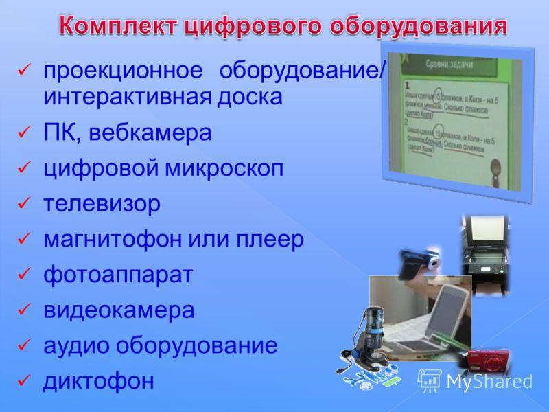 проекционное оборудование/ интерактивная доска ПК, вебкамера цифровой микроскоп телевизор магнитофон или плеер фотоаппарат видеокамера аудио оборудование диктофон
