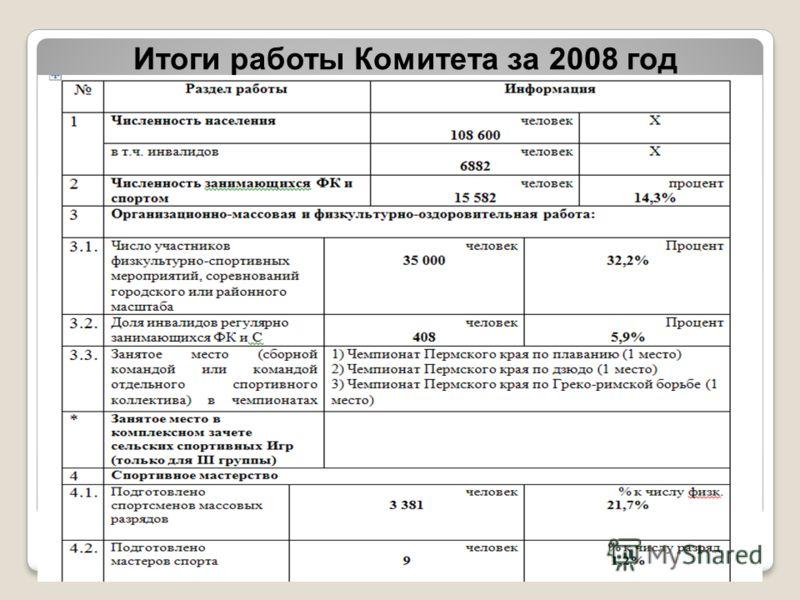 Итоги работы Комитета за 2008 год