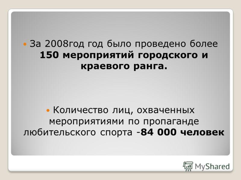 За 2008год год было проведено более 150 мероприятий городского и краевого ранга. Количество лиц, охваченных мероприятиями по пропаганде любительского спорта -84 000 человек
