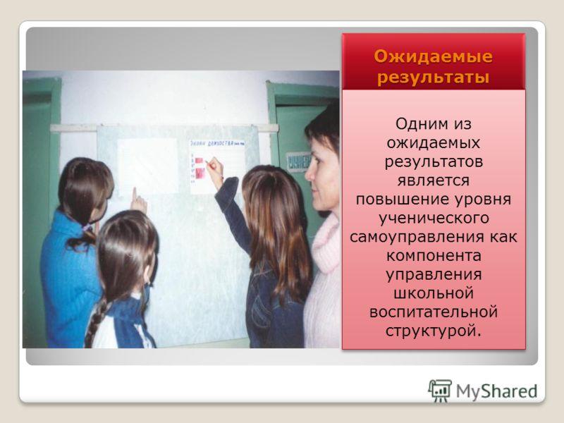 Ожидаемые результаты Одним из ожидаемых результатов является повышение уровня ученического самоуправления как компонента управления школьной воспитательной структурой.