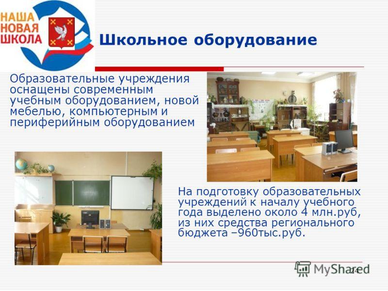 24 Школьное оборудование Образовательные учреждения оснащены современным учебным оборудованием, новой мебелью, компьютерным и периферийным оборудованием На подготовку образовательных учреждений к началу учебного года выделено около 4 млн.руб, из них
