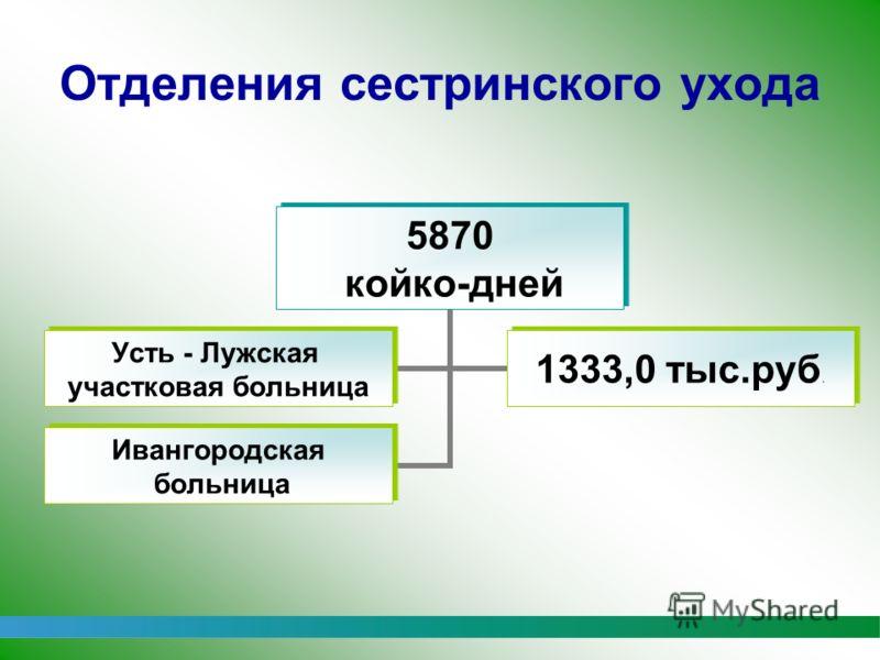 1 Отделения сестринского ухода 5870 койко-дней Усть - Лужская участковая больница 1333,0 тыс.руб. Ивангородская больница