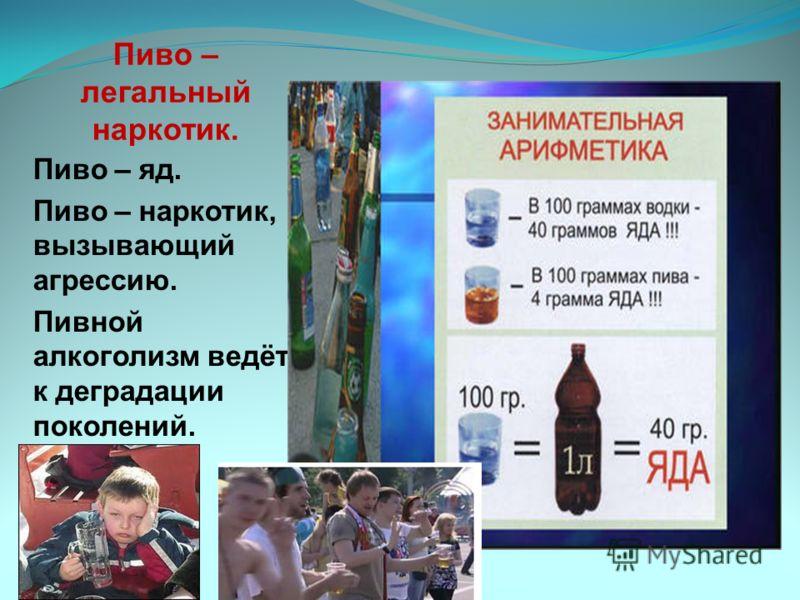 Пиво – легальный наркотик. Пиво – яд. Пиво – наркотик, вызывающий агрессию. Пивной алкоголизм ведёт к деградации поколений.
