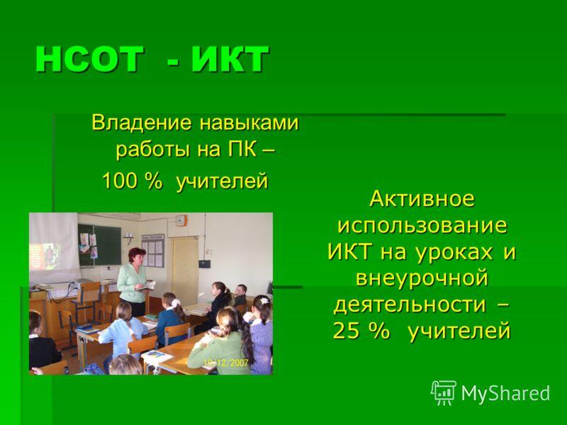 НСОТ - ИКТ Владение навыками работы на ПК – 100 % учителей Активноеиспользование ИКТ на уроках и внеурочной деятельности – 25 % учителей