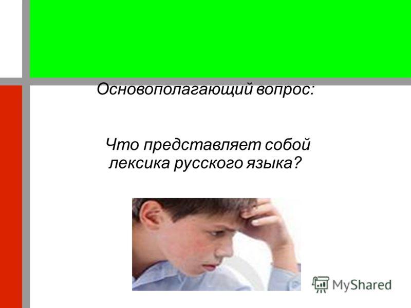 Основополагающий вопрос: Что представляет собой лексика русского языка?