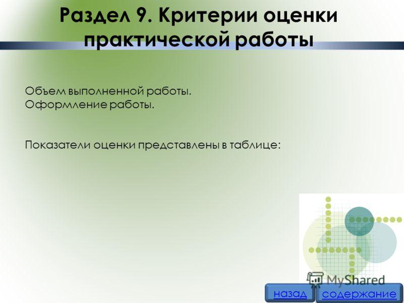Раздел 9. Критерии оценки практической работы Объем выполненной работы. Оформление работы. Показатели оценки представлены в таблице: назад содержание