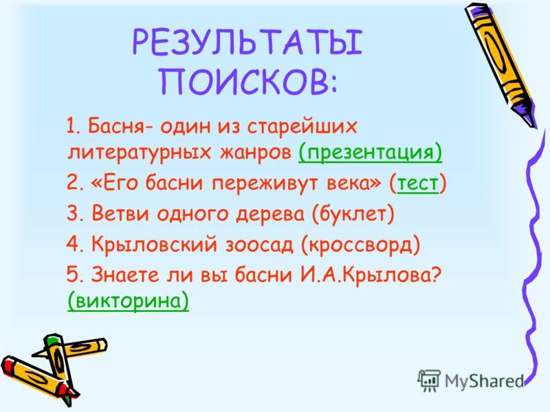 РЕЗУЛЬТАТЫ ПОИСКОВ: 1. Басня- один из старейших литературных жанров (презентация)(презентация) 2. «Его басни переживут века» (тест)тест 3. Ветви одного дерева (буклет) 4. Крыловский зоосад (кроссворд) 5. Знаете ли вы басни И.А.Крылова? (викторина) (в