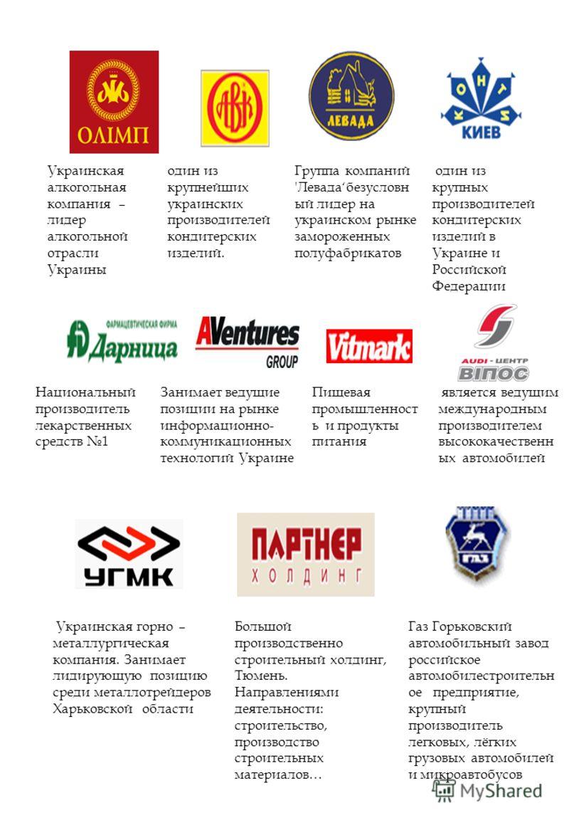 Украинская алкогольная компания – лидер алкогольной отрасли Украины один из крупнейших украинских производителей кондитерских изделий. Группа компаний 'Левадабезусловн ый лидер на украинском рынке замороженных полуфабрикатов один из крупных производи